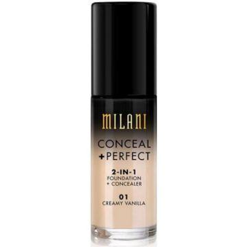 Milani Conceal + Perfect 2 In 1 Foundation + Concealer - 01 Creamy Vanilla