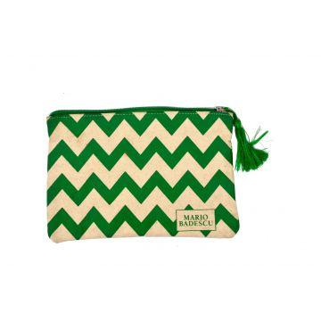 Mario Badescu Green/White Pattern Clutch Bag