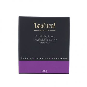 Bnatural Charcoal Lavender Soap With Coconut Oil & Shea Butter - 100g