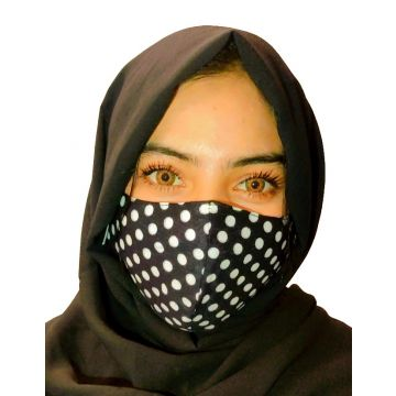 Black Polka Dotted Cloth Fabric Face Mask