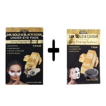Azure Lux 24k Gold & Black Pearl Under Eye Pads - 1 Pair