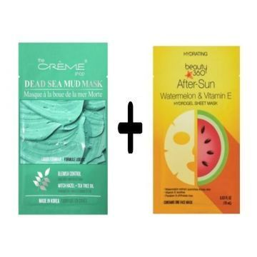 The Creme Shop Dead Sea Mud Mask + Beauty 360 Hydrating After-Sun Watermelon & Vitamins E Hydrogel Sheet Mask