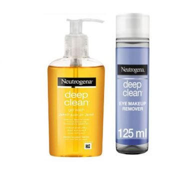 Neutrogena Facial Wash Deep Clean Gel - 200ml  + Neutrogena Eye Makeup Remover, Deep Clean - 125ml