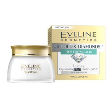 Eveline 24K Gold & Diamonds Night Cream + Serum 50ml - J4g