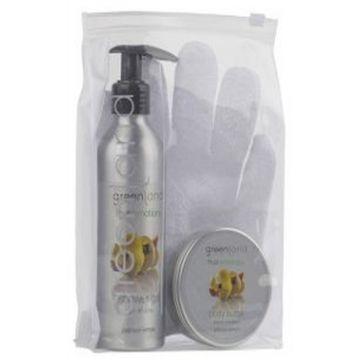Greenland Bodycare Pack of 3 - Scrub Glove, Shower Gel 200 Ml & Body Butter 100 Ml - Lemon - FE0191