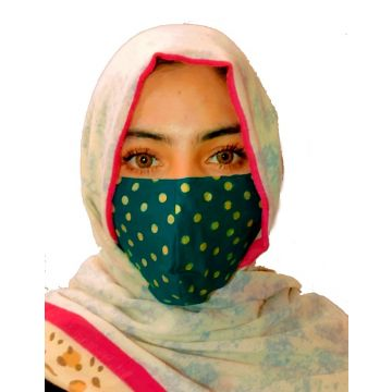 Green Polka Dotted Cloth Fabric Face Mask